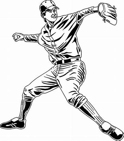 Baseball Coloring Player Players Drawing Professional Pitcher