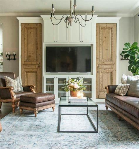 Living Room Decor Fixer by Repurpose Doors On Each Side Of An Entertainment
