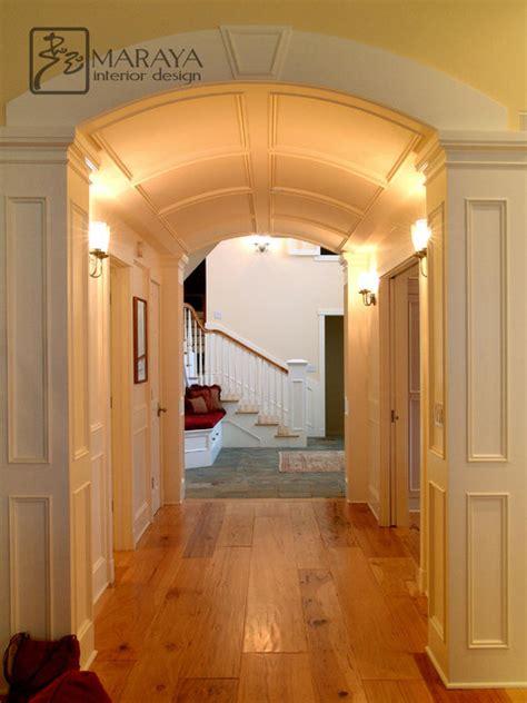 barrel vault paneled arched hallway traditional hall