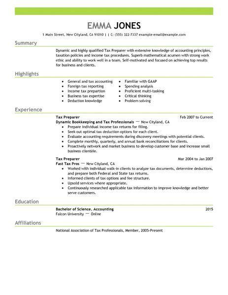 sle tax preparer resume best tax preparer resume exle livecareer