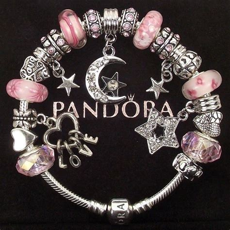 authentic pandora bracelet  charms pink  love
