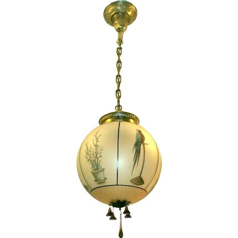 antique hanging lights vintage gill glass parrot hanging light fixture from