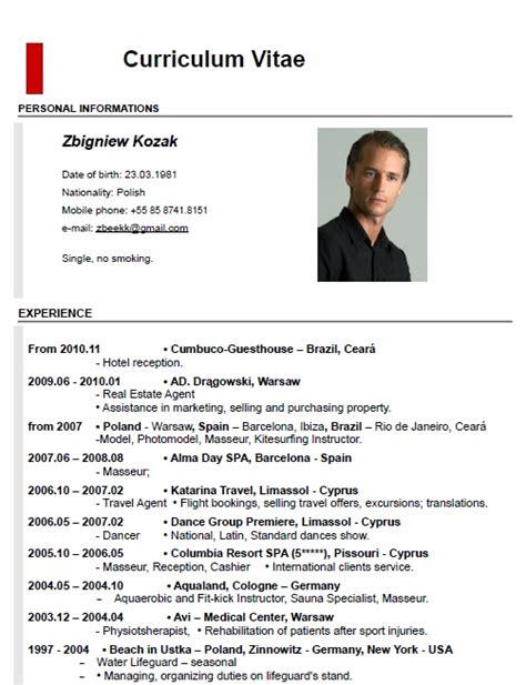 curriculum vitae exle pdf 6 cv exle