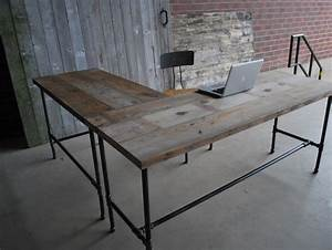 L shape modern rustic desk made of reclaimed wood. Choose your