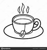 Tea Coloring Cup Children Vector Ksenya Savva sketch template