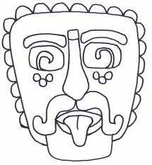 mayan masks colouring pages south america pinterest With aztec mask template