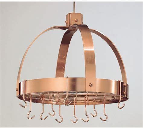 dutch international cp dome hanging satin copper pot rack  grid  hooks
