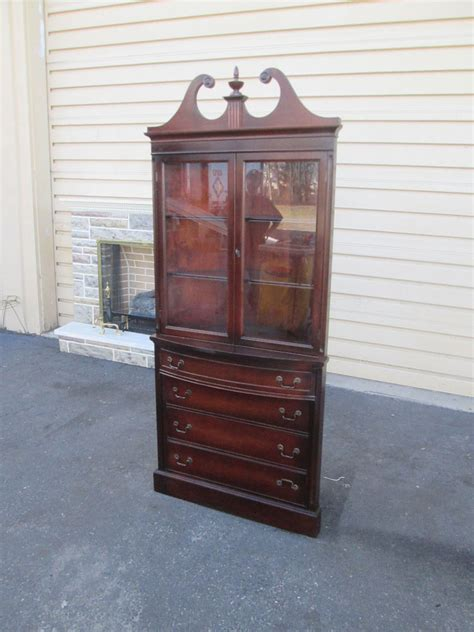 56723 antique mahogany corner china cabinet curio ebay
