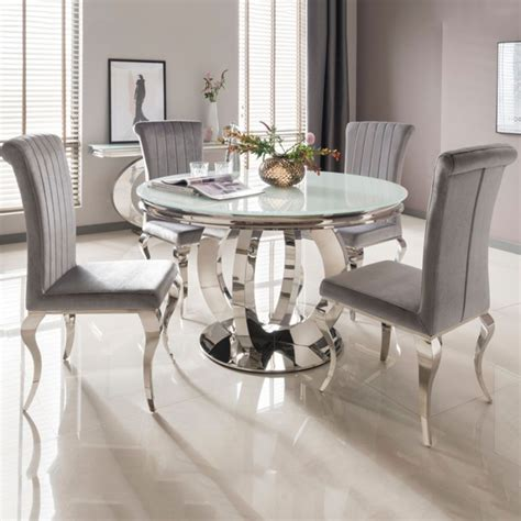 buy vida living orion white glass top  dining table