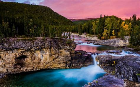 Landscape Nature Mountain River Waterfall Pool With Water