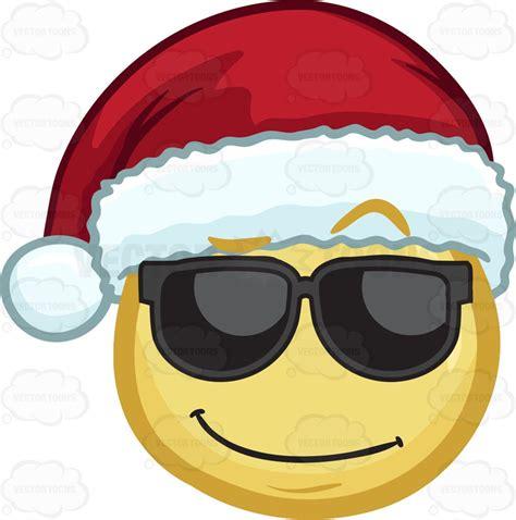 a cool looking emoji wearing a santa hat vector clip art