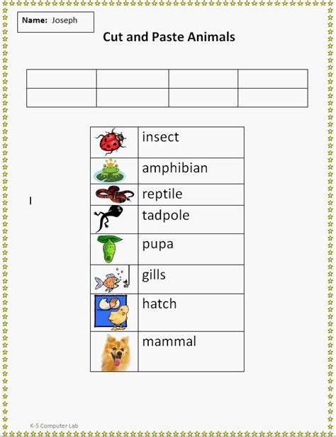 cut and paste animal vocabulary worksheet school