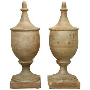 pair of large vintage wooden finials for sale at 1stdibs