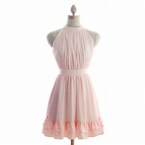 junior pink chiffon knee length bridesmaid dress cheap With cheap wedding dresses under 50