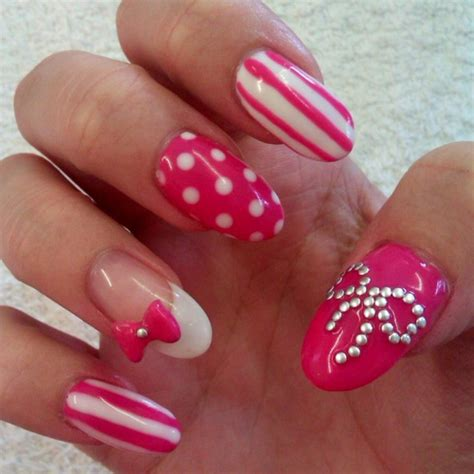 pink  white nail art designs pictures
