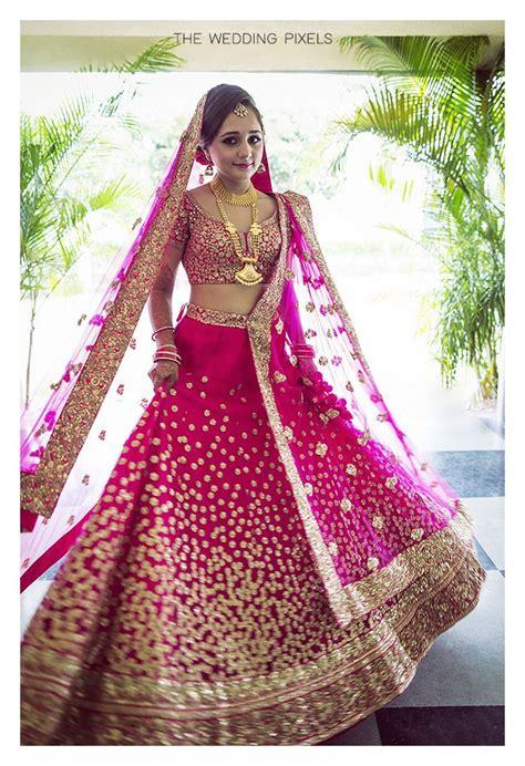 bright pink  gold sequin work lehenga pink bridal