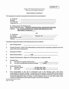 modern standard employment contract template illustration With standard contract of employment template