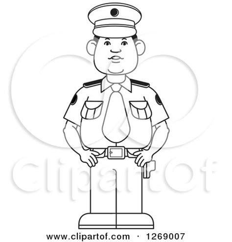 11589 policeman clipart black and white clipart of a black and white standing in
