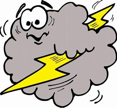 Lightning Cloud Clipart Cartoon Cliparts Clip Clouds