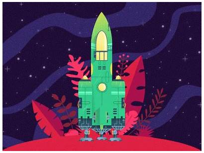 Spaceship Dribbble Debut Launch Space Planet