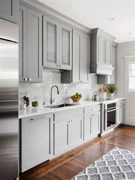 floor l houzz kitchen with gray cabinets design ideas remodel pictures houzz