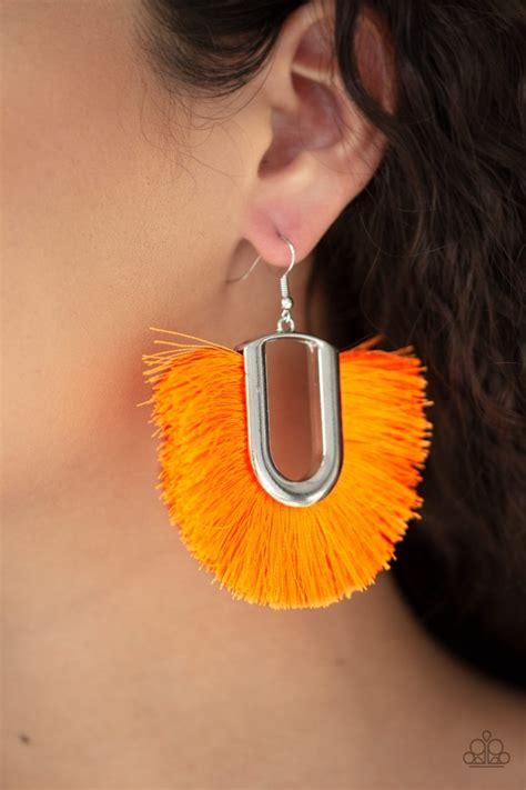 tassel tropicana paparazzi orange neon thread silver