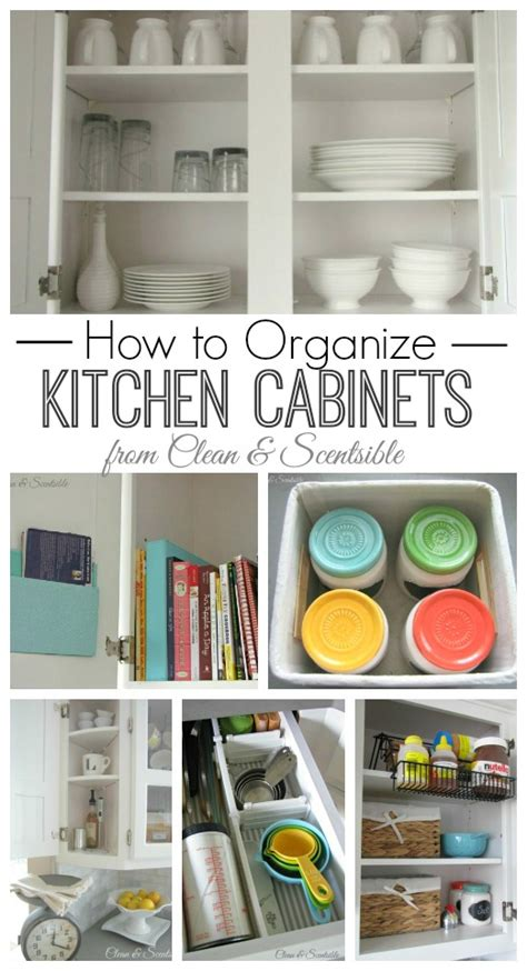 organize kitchen cabinets clean  scentsible