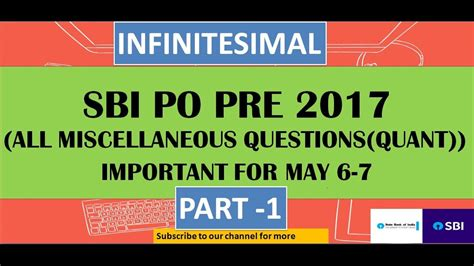 Miscellaneous (quant) Question Asked In Sbi Po Pre 201718(part1) Banks Ibps Po Youtube