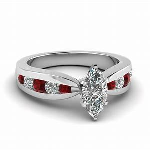 tapered channel set marquise diamond engagement ring with With red diamond wedding ring