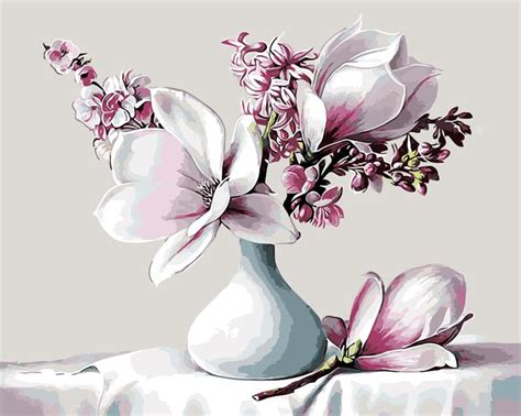 lily flowers  white vase blue oil painting picture