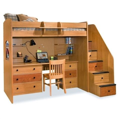 loft bed with desk and storage utica lofts twin loft bed with storage stairs 23 835 xx
