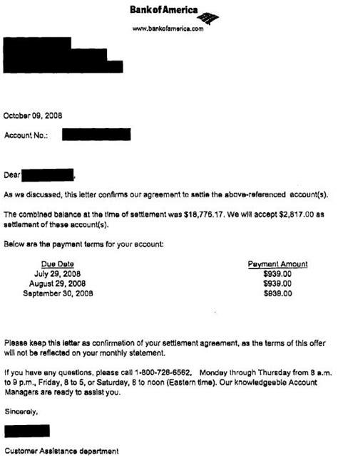 bank  america sample debt settlement letter leave debt