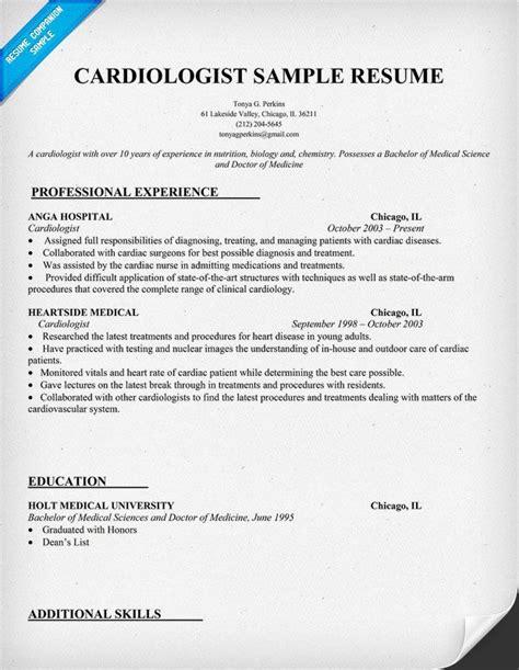 cardiologist resume sle http resumecompanion