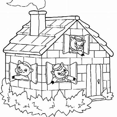 Pigs Three Coloring Pages Houses Drawing Printable