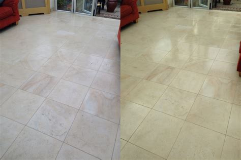 Limestone Tiled Floor Before And After