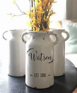 personalized milk jug vase farmhouse decor rustic decor