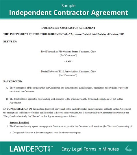 Staging Contract Template Free Independent Sle Independent Contractor Agreement Marketing