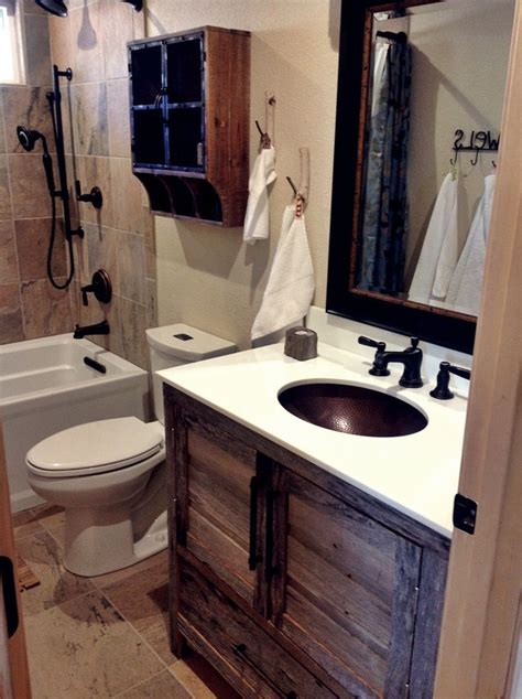 rustic bathroom ideas for small bathrooms small quot modern rustic quot cabin bathroom remodel with grey