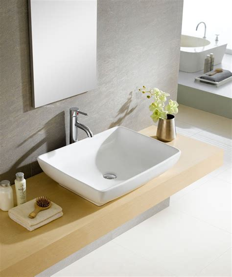 Modern Above Counter Bathroom Sinks by Modern Ceramic Rectangular Vessel Bathroom Sink