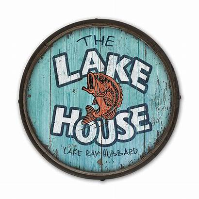 Lake Sign Wooden Barrel End Signs Welcome