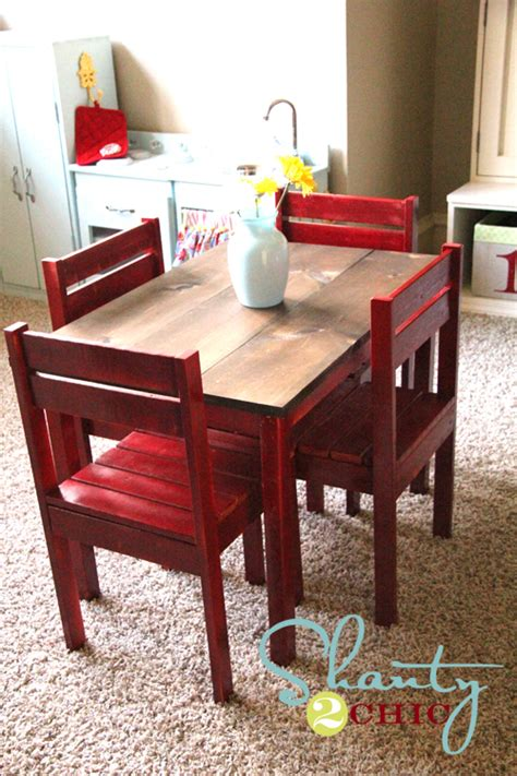ana white kids play table  stackable chairs diy