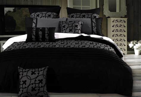 Lyde Charcoal Grey Duvet Cover Set / Black Flocking Design