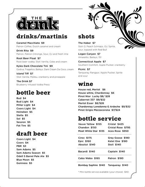 drink menu template bookletemplateorg