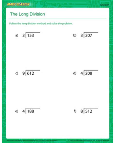 The Long Division  Printable Division Worksheet For Kids  Math Blaster