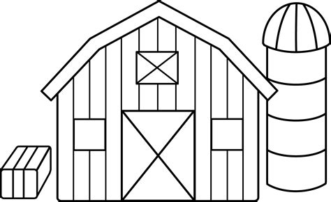 Black and White Farm Barn Silo Clip art - Farm Home ...