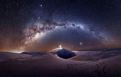 Night Desert Sky Stars Milky Way Dunes