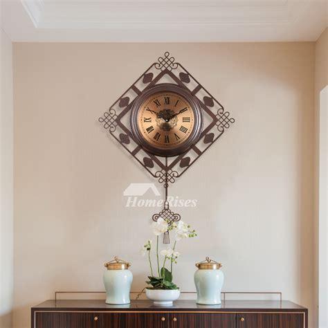 oversized wall clock decorative vintage pendulum metal silent living room