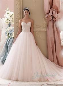 Jol229 2015 blush pink colored sweetheart tulle princess for Blush ball gown wedding dress