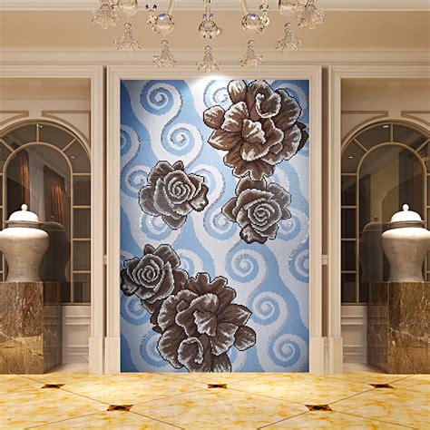 glass mosaic tile puzzle tile wall backsplashes bathroom tile decor flower pattern kqyt54