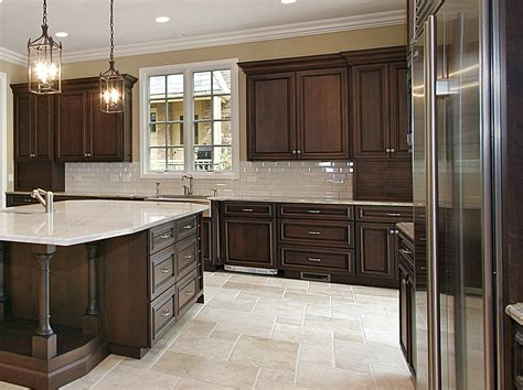 dark brown kitchen cabinets classic dark cherry kitchen with large island www